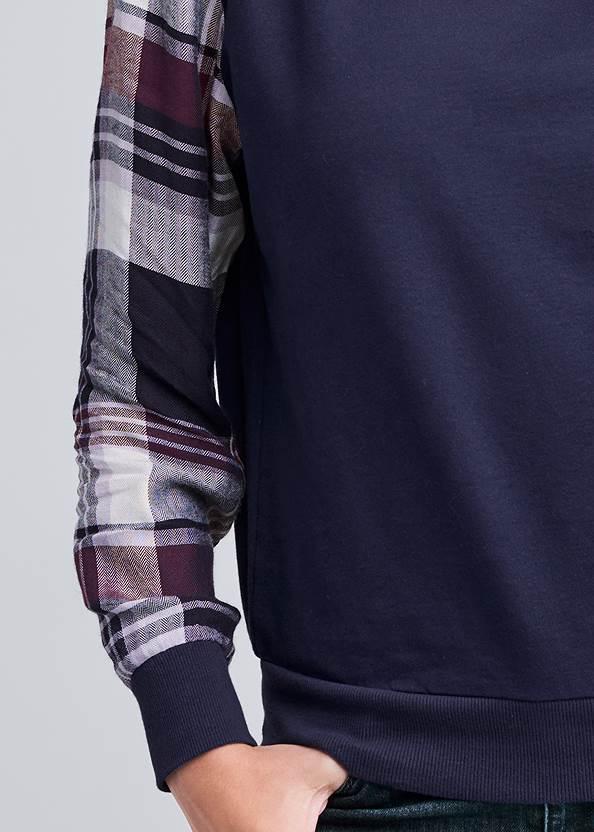 Detail front view Plaid Sleeve Sweatshirt