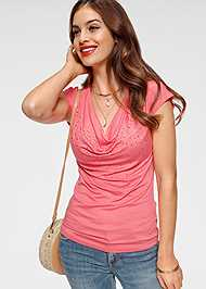 Front View Cowl Neck Sleeveless Top