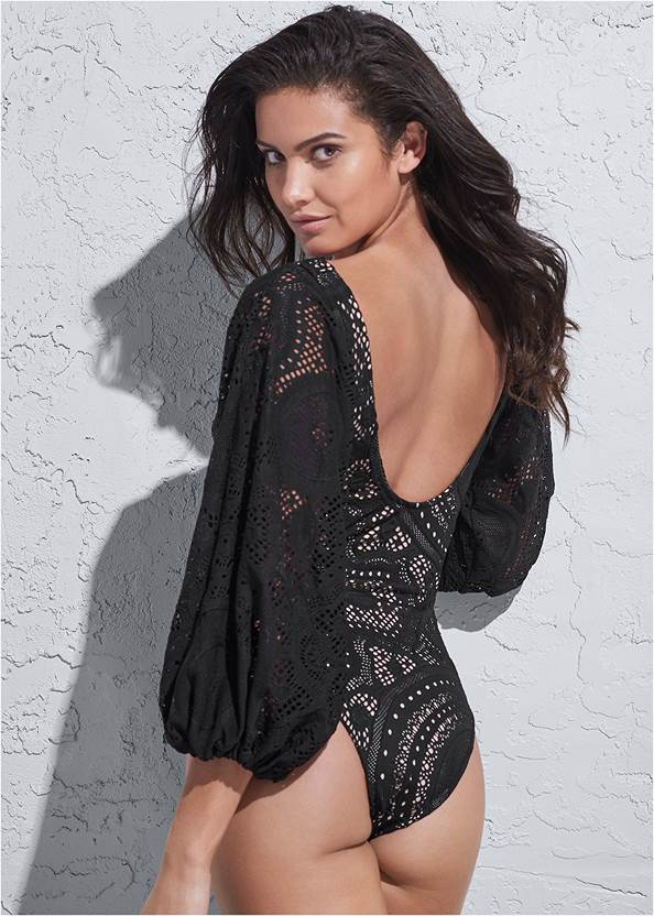 Back View Sports Illustrated Swim™ Detachable Sleeve One-Piece