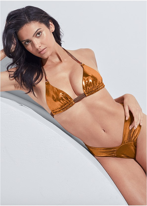 Sports Illustrated Swim™ Double Strap Triangle Top,Sports Illustrated Swim™ High Leg Ruched Bottom,Sports Illustrated Swim™ Cut Out Sides Bottom