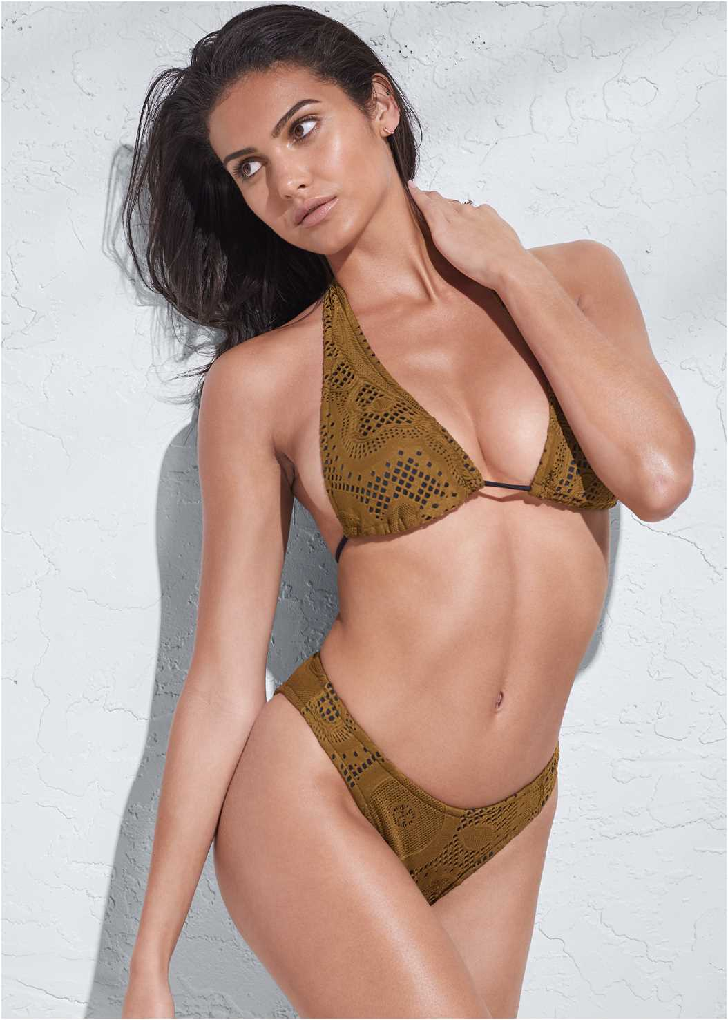 Sports Illustrated Swim™ Long Triangle Top,Sports Illustrated Swim™ High Leg Bottom