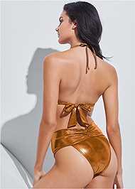 Full back view Sports Illustrated Swim™ High Leg Ruched Bottom