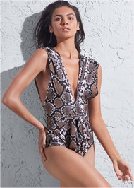 Alternate View Sports Illustrated Swim™ Open Side Faux Sleeve One-Piece