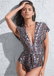 Front View Sports Illustrated Swim™ Open Side Faux Sleeve One-Piece