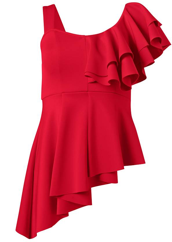 Alternate View Ruffle One Shoulder Top