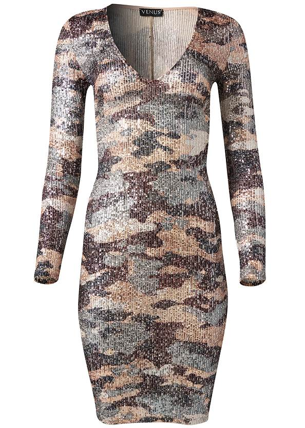 Ghost with background  view Sequin Camo Dress