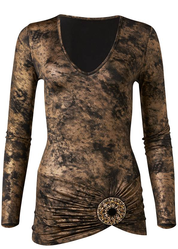 Metallic Foil Top,Mid Rise Slimming Stretch Jeggings,Tiger Detail Earrings