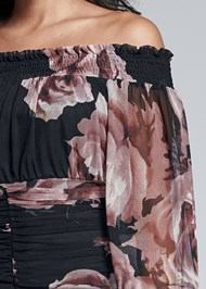 Alternate View Ruched Floral Mesh Top