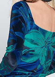 Alternate View Floral Print Velvet Dress