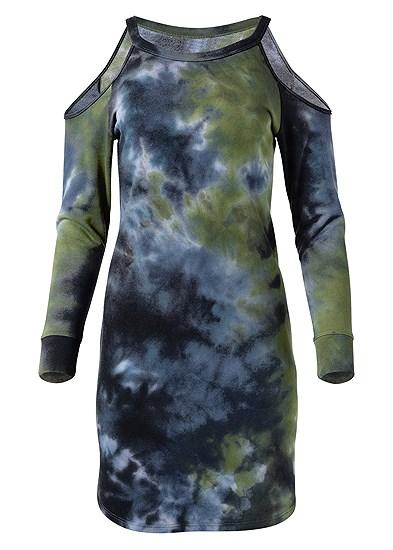 Plus Size Tie Dye Cold Shoulder Dress