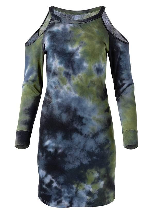 Tie Dye Cold Shoulder Dress,Wrap Stitch Detail Booties,Square Hoop Earrings,Net Bag