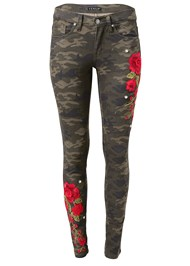 Ghost with background  view Rose Embroidered Camo Skinny Jeans