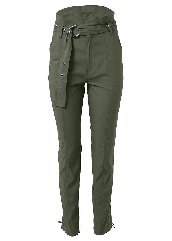 Ghost with background  view Belted High Waist Utility Pants