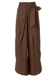 Ghost with background  view Wrap Front Wide Leg Linen Pants