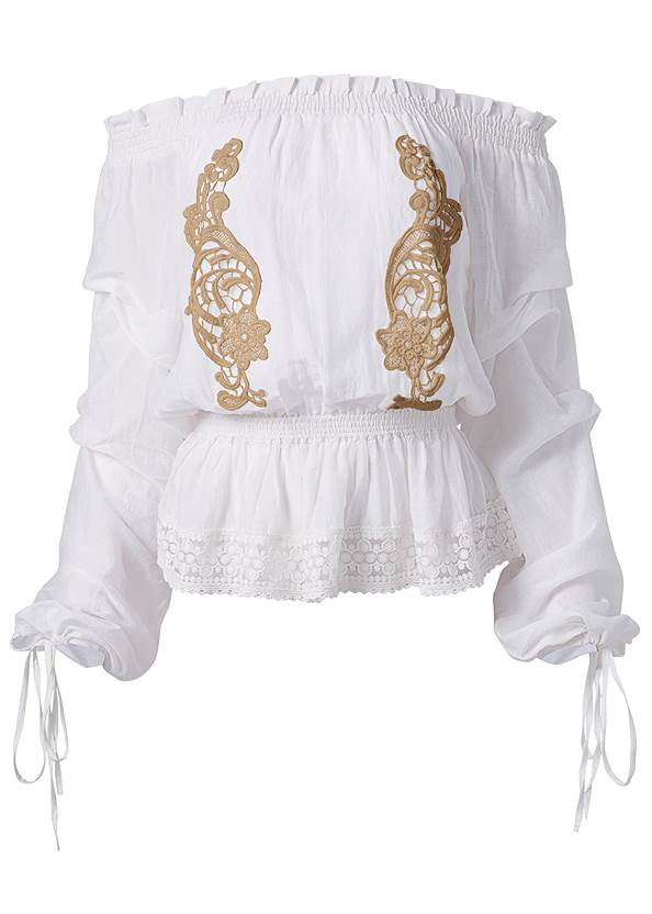 Ghost with background  view Embroidered Off The Shoulder Top
