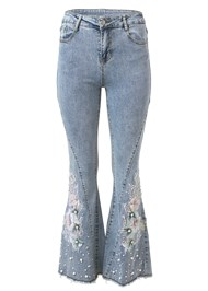 Ghost with background  view Floral Applique Wide Leg Jeans