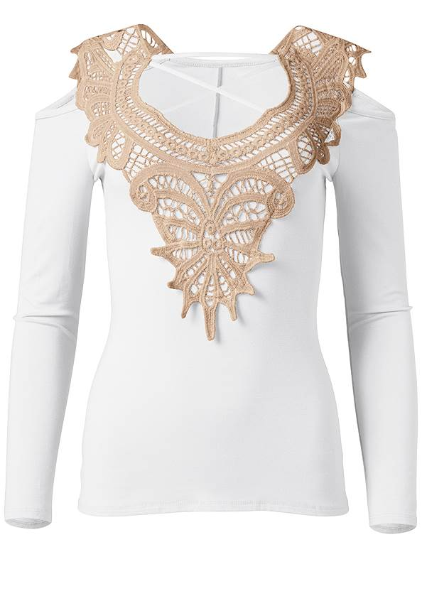 Ghost with background  view Lace Cold Shoulder Top