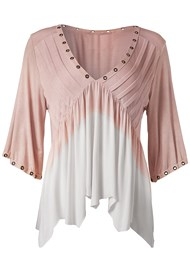 Ghost with background  view Pleated Ombre Grommet Top