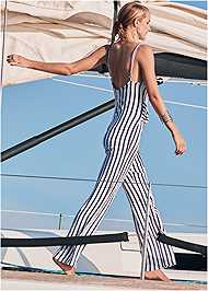 Full back view Striped Jumper Cover-Up