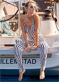 Full front view Striped Jumper Cover-Up