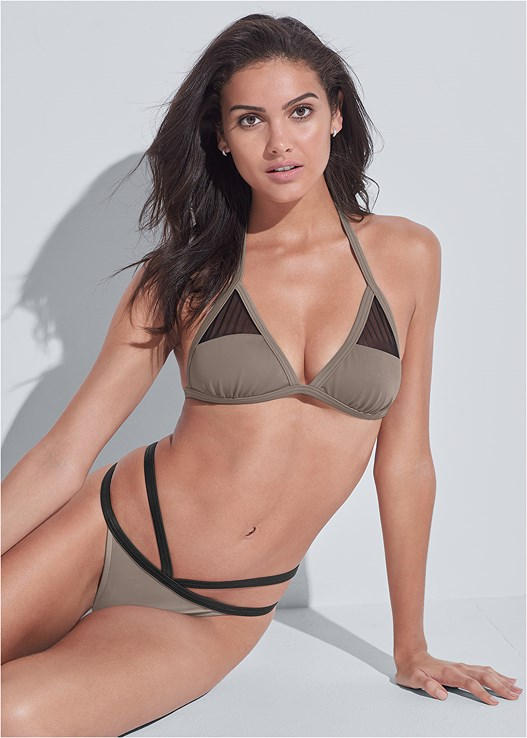 SPORTS ILLUSTRATED SWIM™ STRAPPY BANDED BOTTOM,SPORTS ILLUSTRATED SWIM™ MESH PANEL TRIANGLE TOP,SPORTS ILLUSTRATED SWIM™ BRAZILIAN BRALETTE,SPORTS ILLUSTRATED SWIM™ ONE SHOULDER BANDEAU,SPORTS ILLUSTRATED SWIM™ SPIDER WEB TRIANGLE TOP