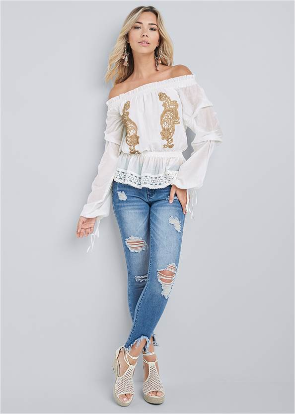 Full front view Embroidered Off The Shoulder Top