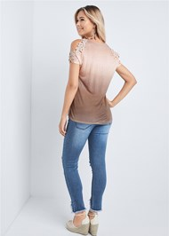 Full back view Ombre Cold Shoulder Top