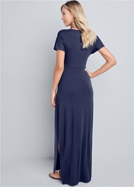 Full back view Tie Front V-Neck Maxi Dress