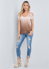Full front view Ombre Cold Shoulder Top