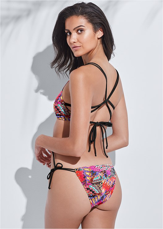 SPORTS ILLUSTRATED SWIM™ PARTY IN THE BACK SPORT TOP,SPORTS ILLUSTRATED SWIM™ MICRO ADJUSTABLE BOTTOM,SPORTS ILLUSTRATED SWIM™ STRAPPY BANDED BOTTOM