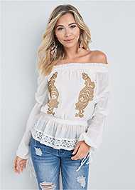 Cropped front view Embroidered Off The Shoulder Top