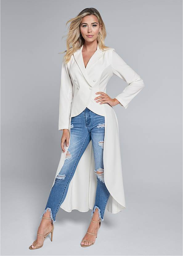 Full front view High Low Double Breasted Blazer