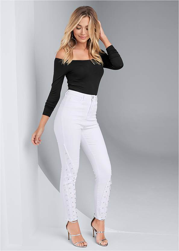 Jewel Studded Straight Leg Jeans,Off The Shoulder Top,Ankle Strap Heels,Hoop Earrings,Chain Link Earrings,Raffia Detail Bag