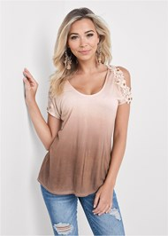 Cropped front view Ombre Cold Shoulder Top