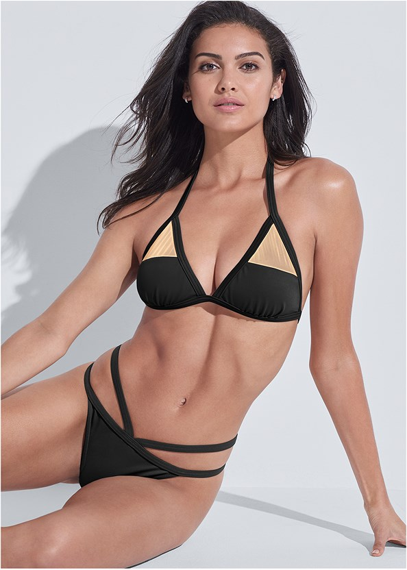 Sports Illustrated Swim™ Strappy Banded Bottom,Sports Illustrated Swim™ Mesh Panel Triangle Top,Sports Illustrated Swim™ Double Strap Triangle,Sports Illustrated Swim™ Push Up Halter Top,Sports Illustrated Swim™ Spider Web Triangle Top
