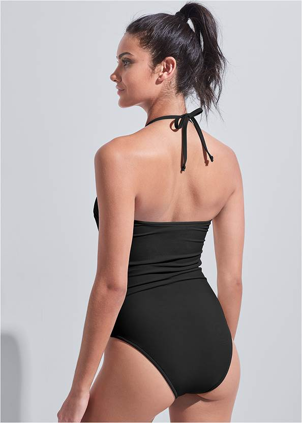Cropped back view Sports Illustrated Swim™ Cut Out Bandeau One-Piece