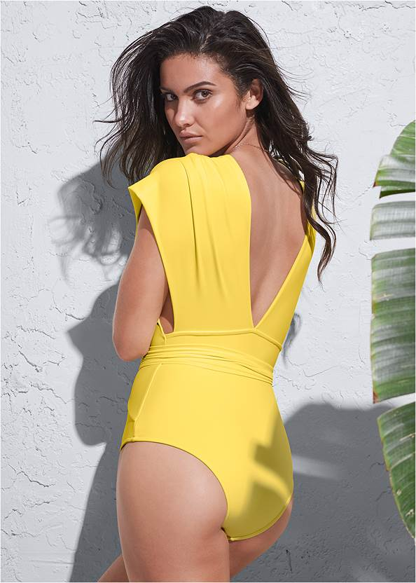Back View Sports Illustrated Swim™ Open Side Faux Sleeve One-Piece