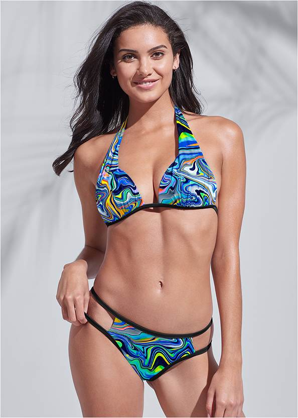 Sports Illustrated Swim™ Cut Out Sides Bottom,Sports Illustrated Swim™ Push Up Halter Top,Sports Illustrated Swim™ Cap Sleeve Crop Top,Sports Illustrated Swim™ Wrap Romper Cover-Up