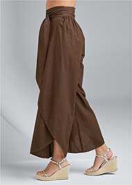 Waist down side view Wrap Front Wide Leg Linen Pants
