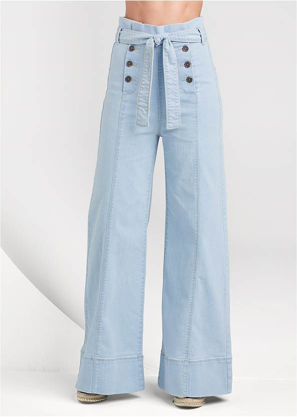 Front View Flare Leg High Waist Jeans
