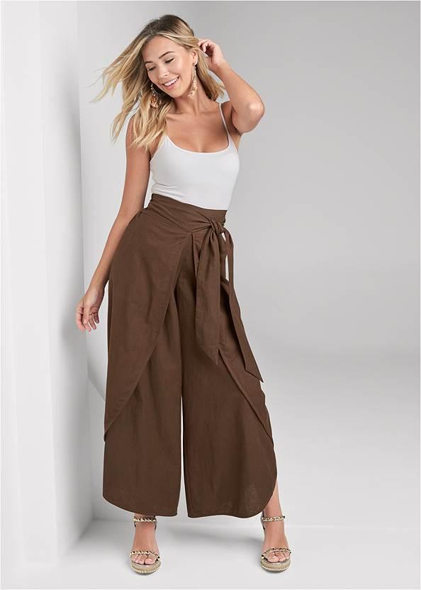 Alternate View Wrap Front Wide Leg Linen Pants