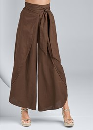 Waist down front view Wrap Front Wide Leg Linen Pants