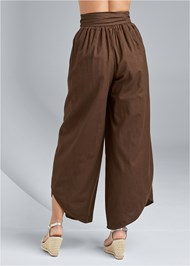 Waist down back view Wrap Front Wide Leg Linen Pants