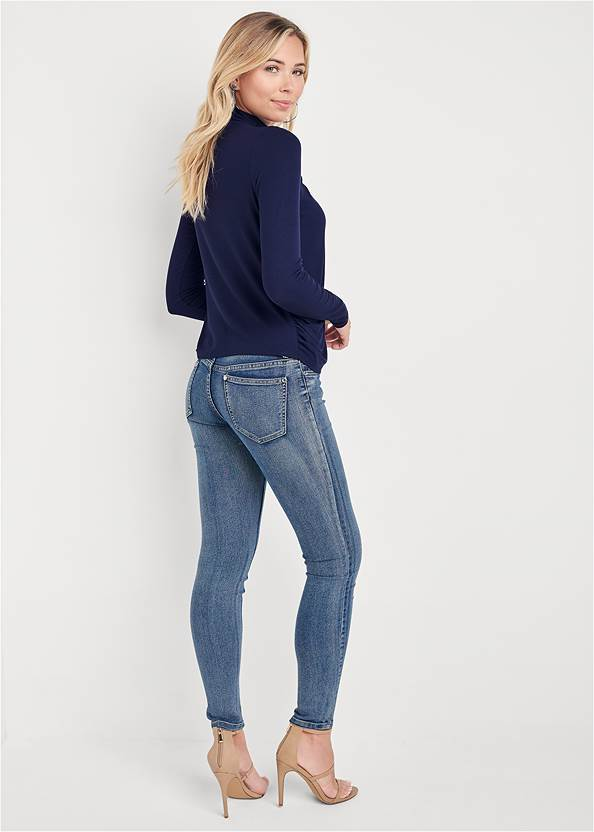 Back View Ribbed Mock Neck Top