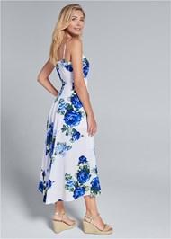 Full back view High Low Floral V-Neck Dress