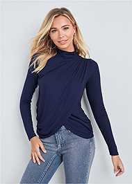 Alternate View Ribbed Mock Neck Top