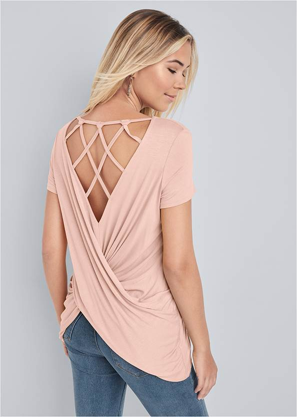 Crisscross Back Top,Mid Rise Color Skinny Jeans,High Heel Strappy Sandals