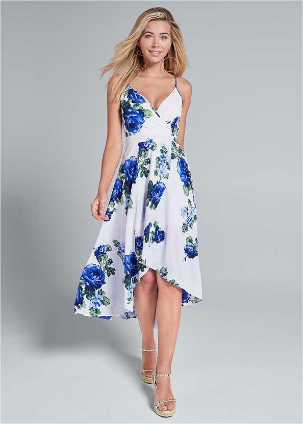 High Low Floral V-Neck Dress,Hoop Earrings