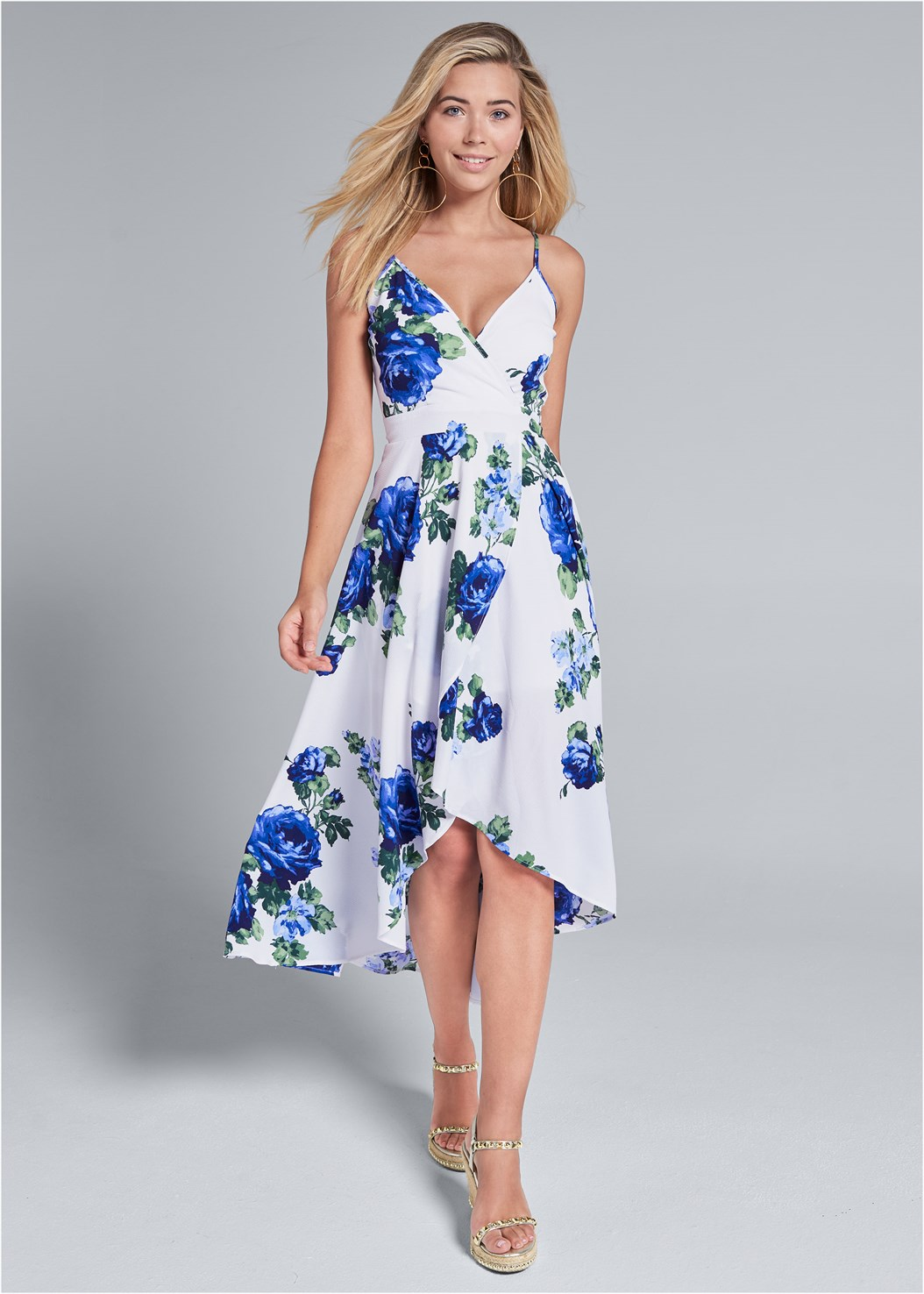 High Low Floral V-Neck Dress,Embellished Wedge,Hoop Earrings