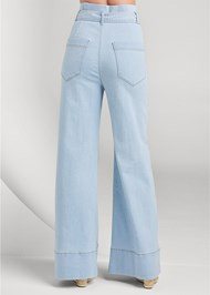 Back View Flare Leg High Waist Jeans